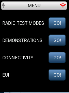 LoRa Basics Modem-E Evaluation Kit main menu