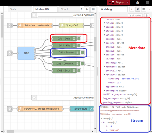Data from Device & Application Services displayed in the debug sidebar