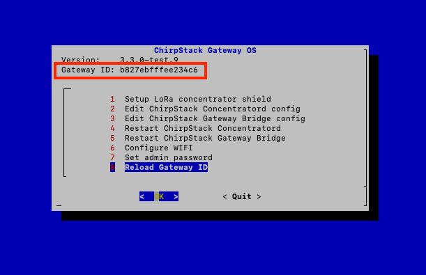 ChirpStack Gateway OS Configuration Menu