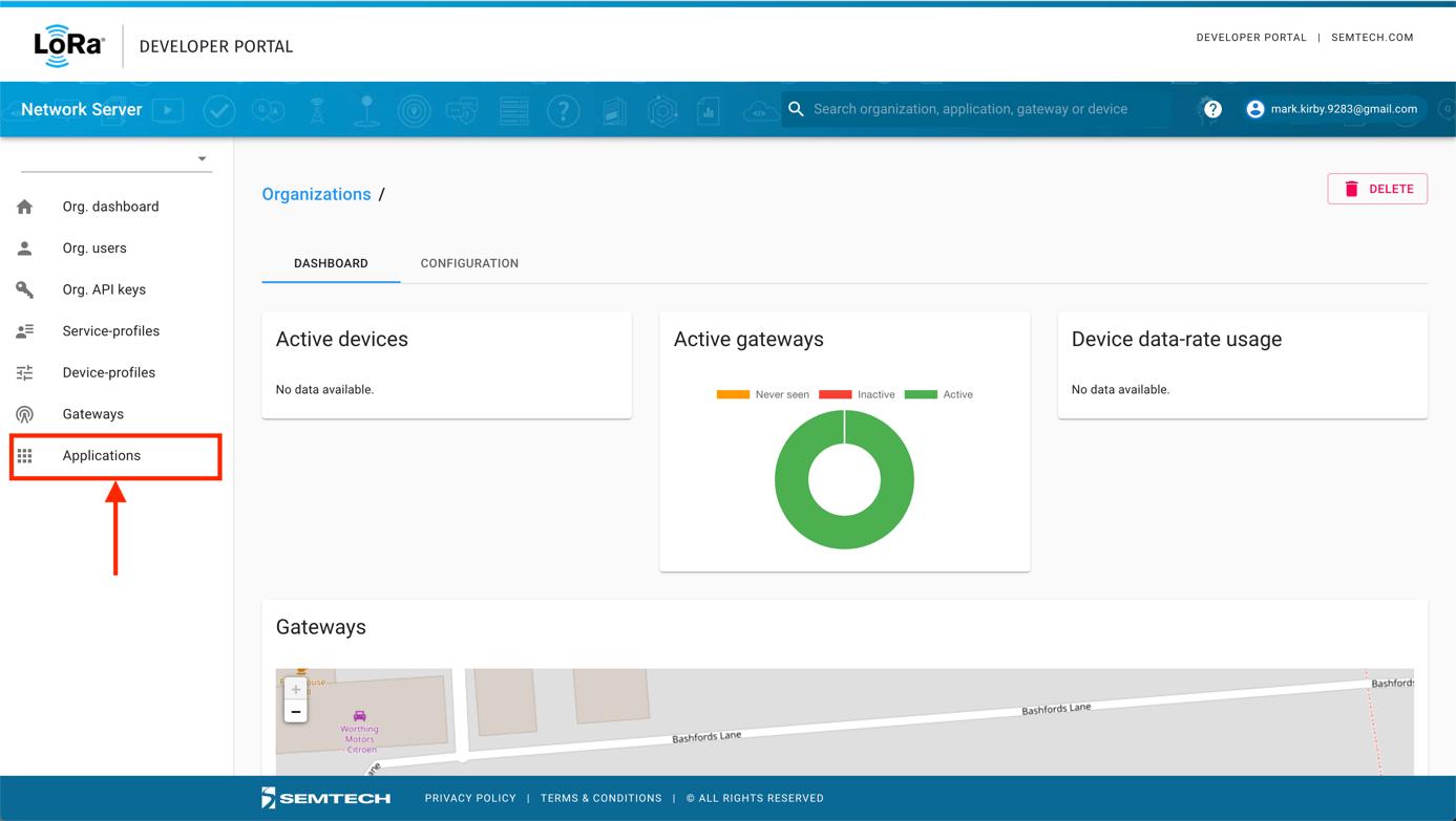 Semtech Network Server Applications Item