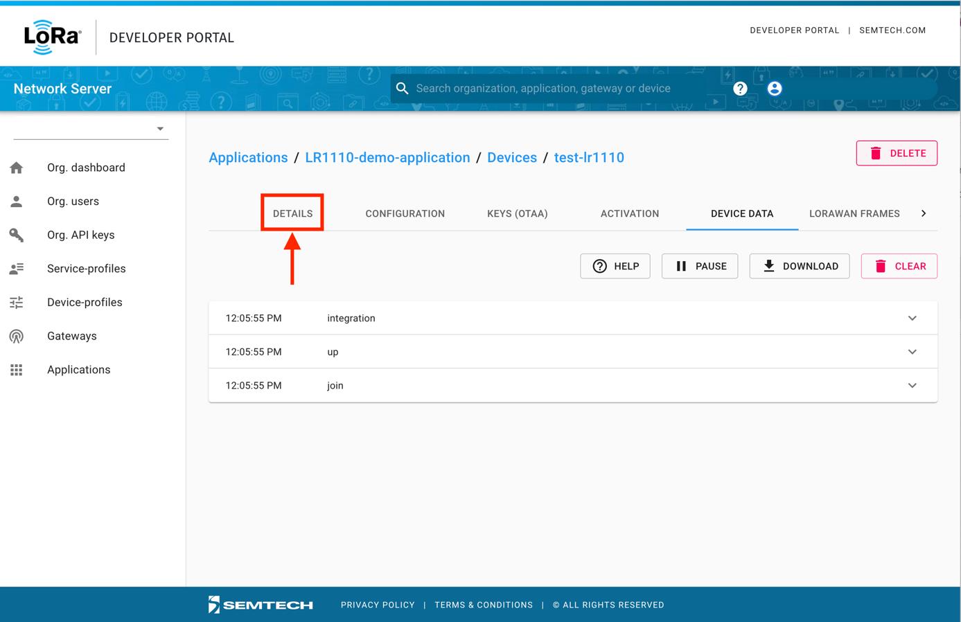 Semtech Network Server DETAILS Tab