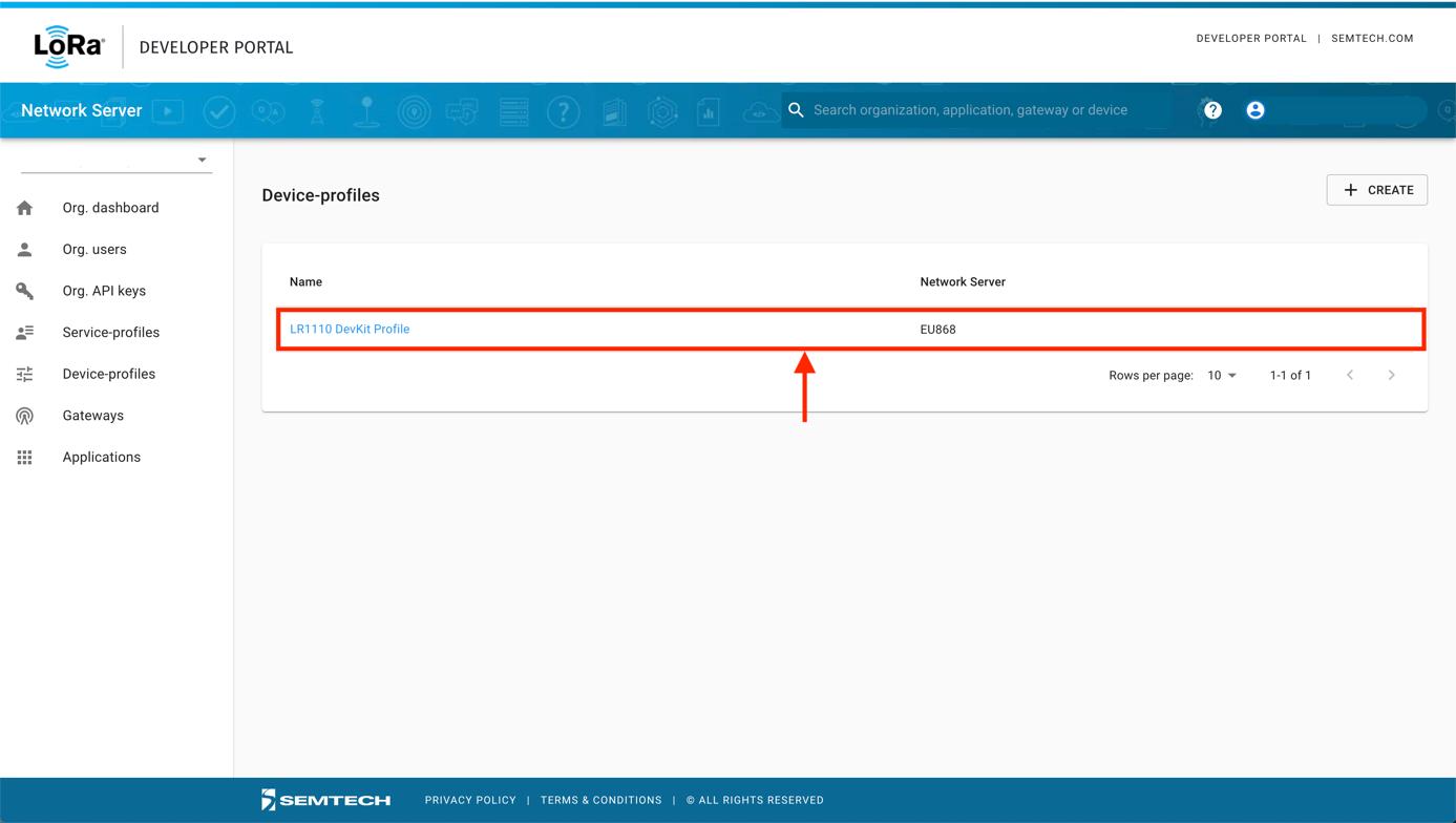 Semtech Network Server Device-profiles List