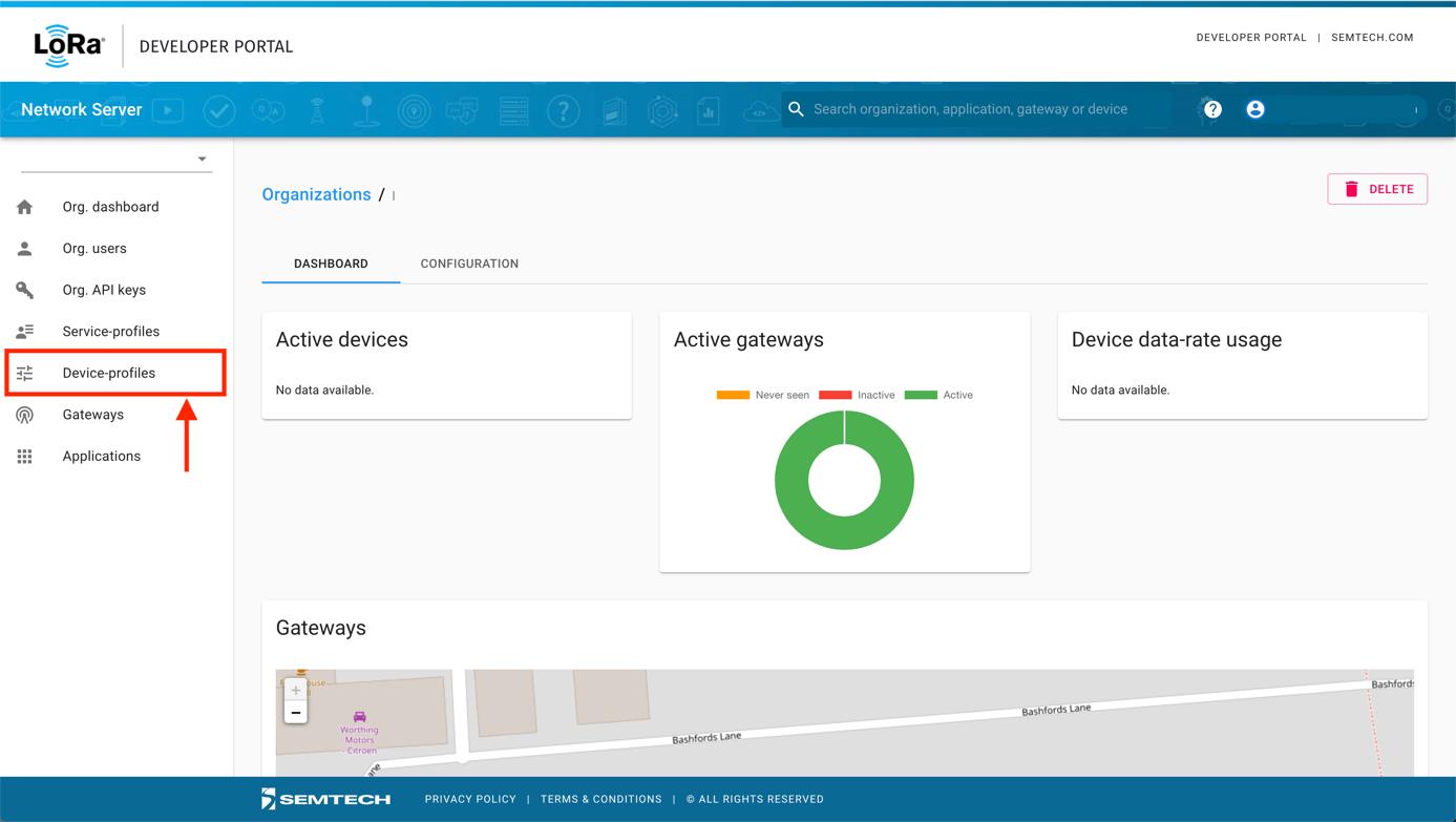 Semtech Network Server Device-profiles Menu Item