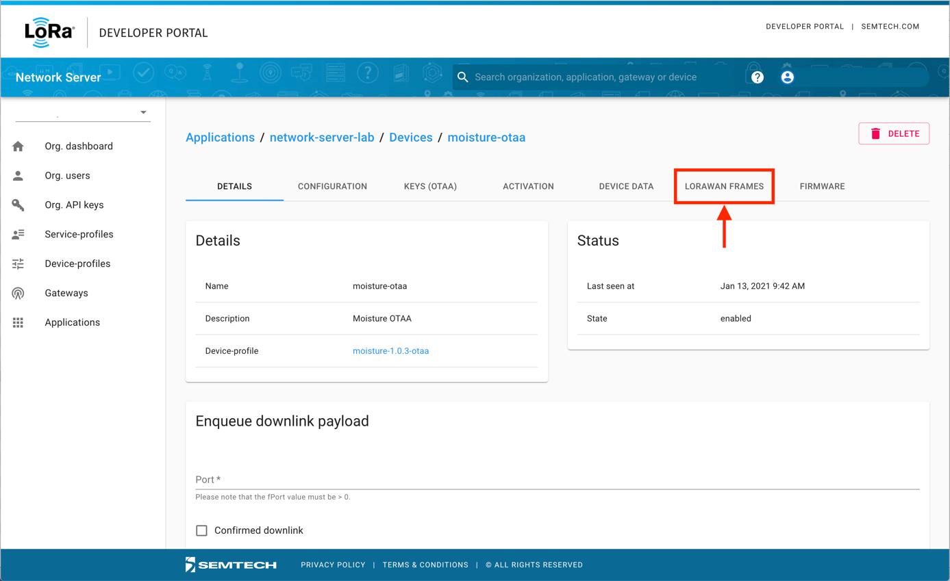Semtech Network Server LORAWAN FRAMES Tab